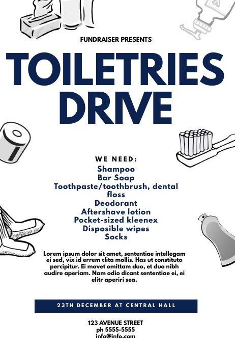 Toiletries Drive Flyer Template Poster