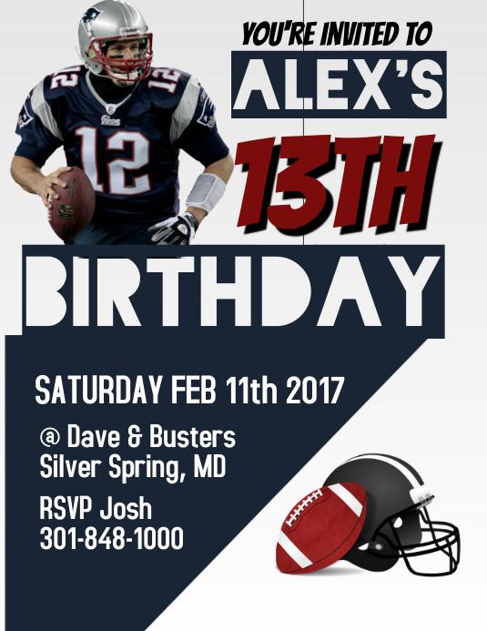 Tom Brady Birthday Invitation