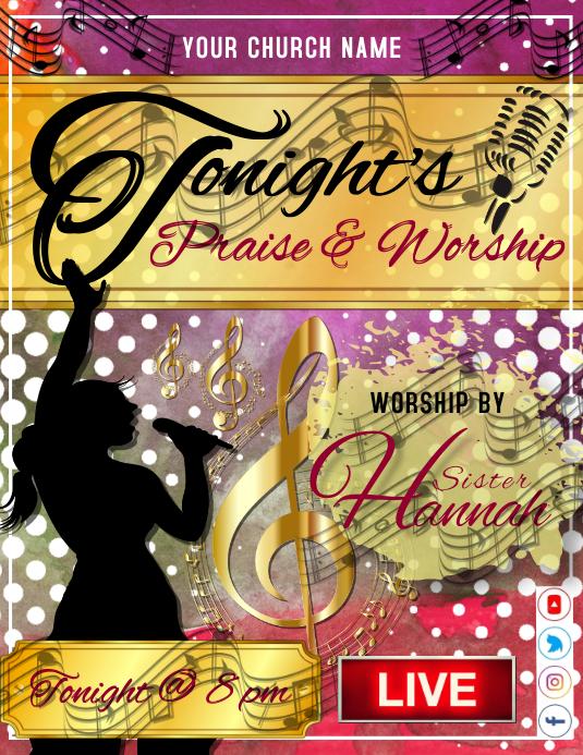 Tonight's Praise & Worship Template Volantino (US Letter)