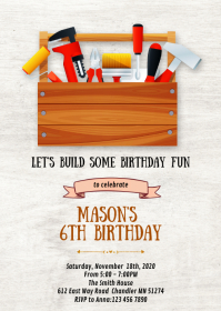Toolbox birthday party invitation