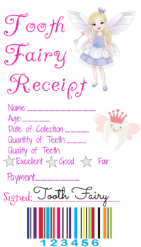 Tooth Fairy Receipt Visitenkarte template