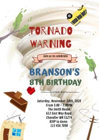 Tornado birthday invitation A6 template