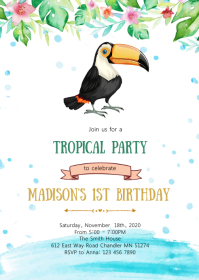 Toucan birthday party invitation A6 template