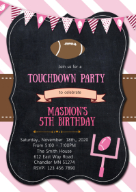 Touchdown birthday party invitation