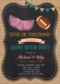 Touchdown or tutu reveal party invitation