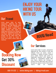Tour and travel business flyer and poster for hiking tour