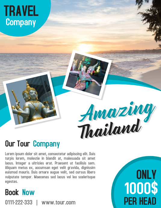 tour and travel business promotion flyer poster template