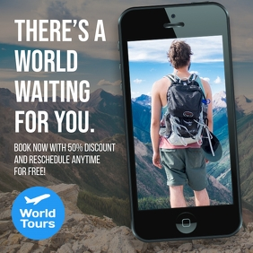 Tour and Travel cell phone instagram ad post template