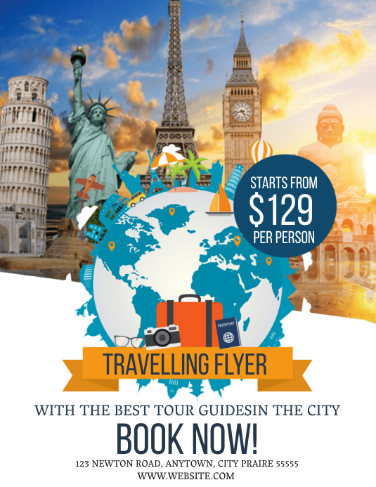 TOUR TRAVEL AGENCY AD Template Flyer (Letter pang-US)