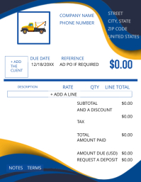 Towing Business Service Invoice