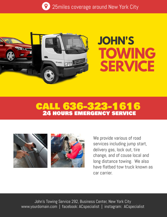 Towing Service Flyer Poster Template