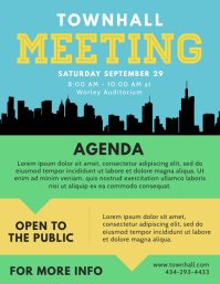 Town Hall Agenda Flyer Template Рекламная листовка (US Letter)