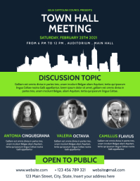town hall meeting advertising flyer template Volante (Carta US)