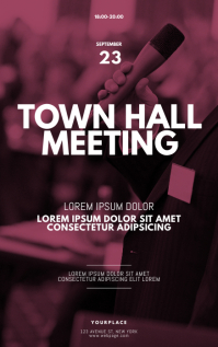 town hall meeting flyer design template Kindle Omslag