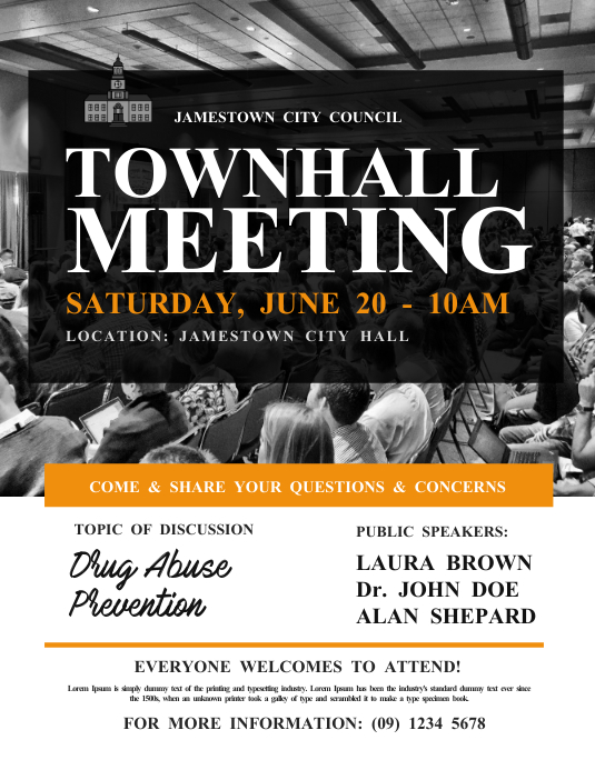 Town Hall Meeting Flyer Template | PosterMyWall