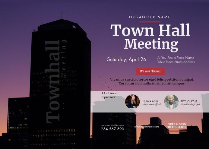 Town Hall Meeting Postcard Poskaart template