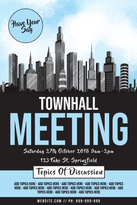 Town Hall Meeting Poster Plakat template