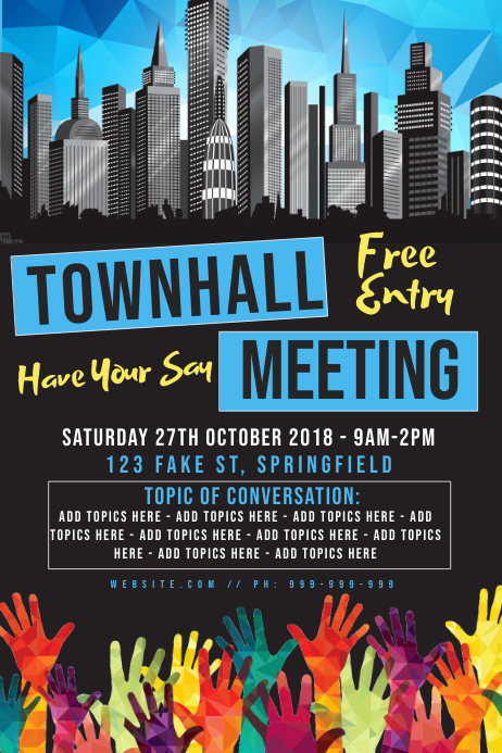 Town Hall Meeting Poster Póster template