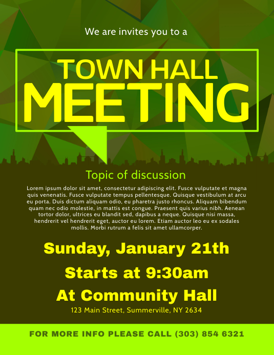 Copy of Town Hall Meeting Flyer | PosterMyWall