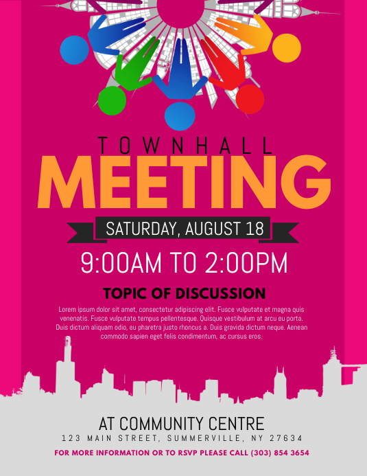 townhall meeting flyer template postermywall
