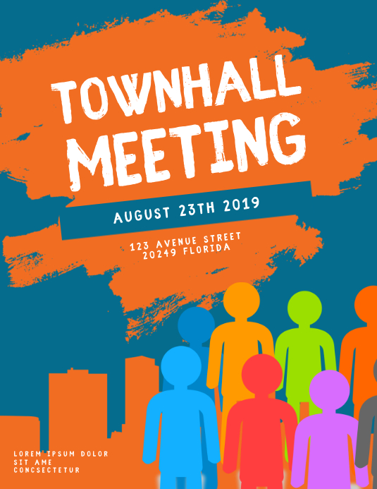 Townhall Meeting Flyer Template ใบปลิว (US Letter)