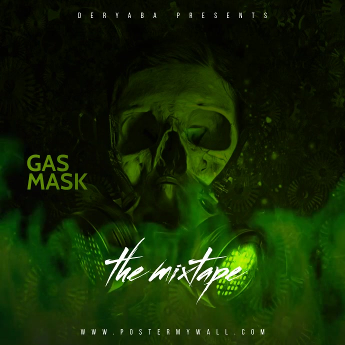 Toxic Video Gas Mask Mixtape CD Cover Square (1:1) template