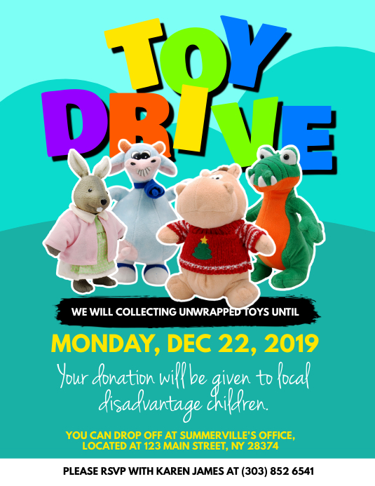 Toys For Donation : Toy drive donation flyer template postermywall