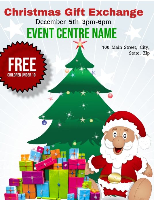 Christmas Gift Exchange Template Postermywall