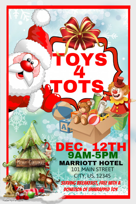 Toys For Tots Posters 2013 : Toy for tots event template postermywall