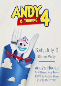 Toy Story 4 Dinner Party Invitation 07 Forky