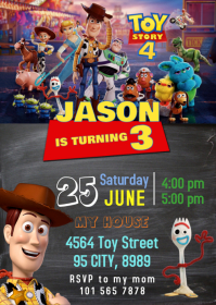 Toy Story 4 Party Birthday Invitation 01