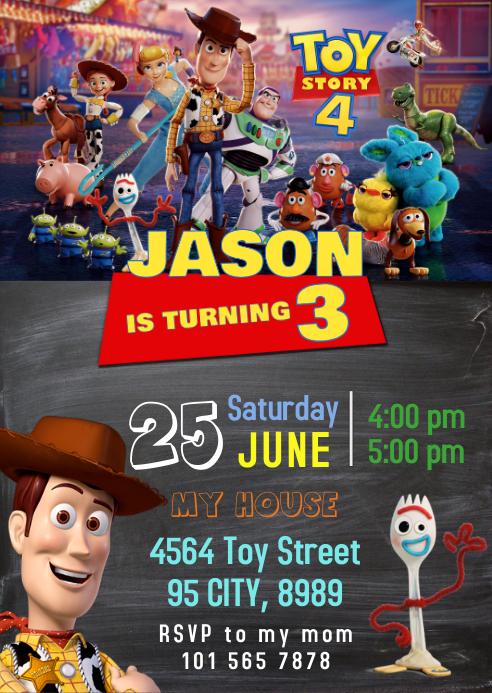 Toy Story 4 Party Birthday Invitation 01
