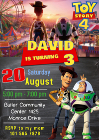 Toy Story 4 Party Birthday Invitation 02