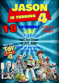 Toy Story 4 Party Birthday Invitation 03