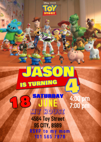 Toy Story 4 Party Birthday Invitation 04