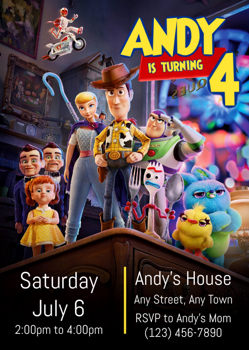 Toy Story 4 Party Invitation 02