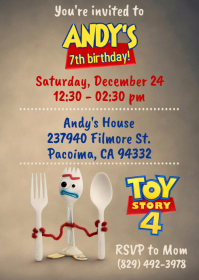 Toy Story 4 Party Invitation 08 Forky