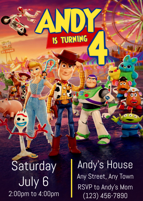 Toy Story 4 Party Invitation 09 Woody Forky A6 template
