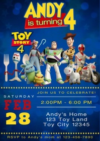 Toy Story 4 Party Video Animated Invitation 1 A6 template