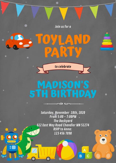 Toyland birthday theme invitation A6 template