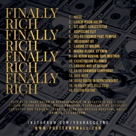 Tracklist Finally Rich Money Mixtape Cover Capa de álbum template