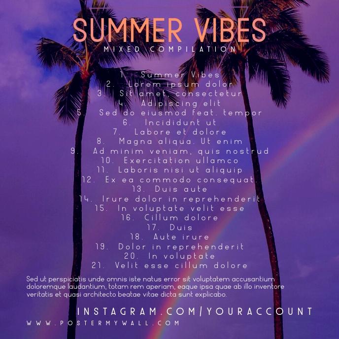 Tracklist Summer Vibes CD Cover Template 专辑封面