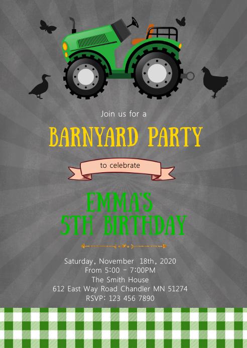 Tractor birthday party invitation