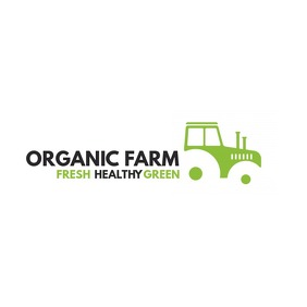 tractor organic farm icon logo Logótipo template