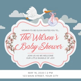 Traditional Grey Baby Shower Square Video Vierkant (1:1) template