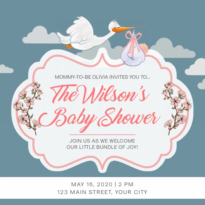 Traditional Grey Baby Shower Square Video
