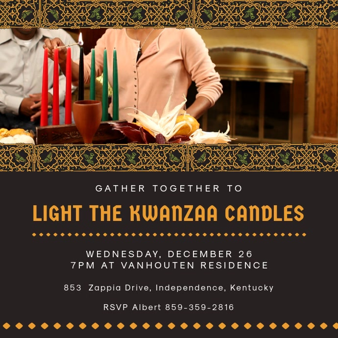 Traditional Kwanzaa Candle Lighting Event Video Persegi (1:1) template