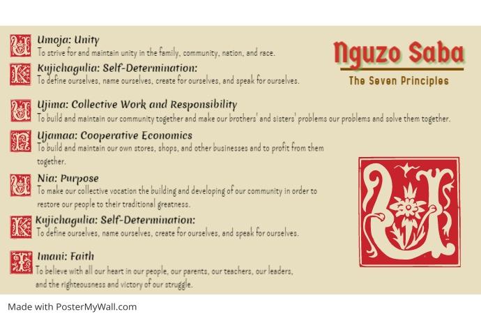 Traditional Kwanzaa Principles List Poster