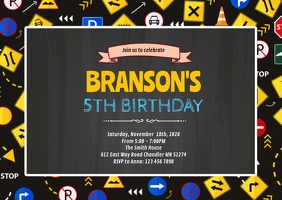 Traffic Birthday Party Invitation A6 template