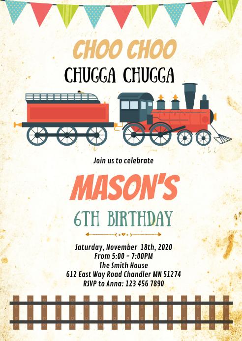 train birthday party invitation template